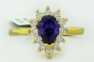 AMETHYST 0.78 Cts & WHITE SAPPHIRE RING 14K GOLDPLATED ** New With Tag **