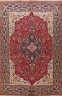 Vintage 8x11 ft Geometric Tebriz Hand-Knotted Oriental Area Rug Wool Carpet RED