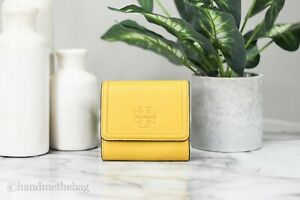 Tory Burch (73133) Thea Pebbled Leather Daylily Mini Wallet Coin Holder Pouch