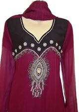 Plum Black Diamante Dress Kurta Shalwar Kameez Anarkali Suit Bollywood Pakistan