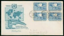 United Nations 1955 ICAO Block Artmaster First Day Cover wwi4401