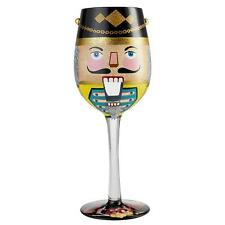 More details for lolita get crackin' wine glass christmas nutcracker hand-painted glassware boxed
