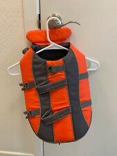 Dog Life Jacket - Canine Safety Jacket with Bright Orange Color, Reflective Trim