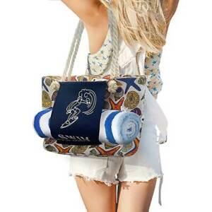 Canvas Beach Tote Bag Towel Holder Inner Pockets Shoulder Bag for Travel Swim