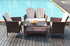 4-Piece Outdoor Rattan Furniture Conservatory Sofa Set Table and Chairs Brown
