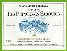 Ancienne Etiquette de vin-Bordeaux(1988)-Château les Princesses Sabourin-N°452