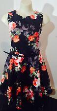 Angelique The Label Red Black Rose Print A-Line Dress Size 14 Au Seller