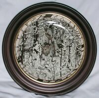 Collector Plates Set of 3 Diana Casey Wildlife Native Frames Bradford Exchg Vtg