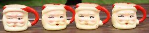 "(4) Vintage Small Santa Face Cups Mini Mug Plastic 1 5/8"" Tall"