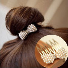 Hairpin Pearl Bow Insert Comb Hair Clip Gold Tone Braid Bun Headwear - UK
