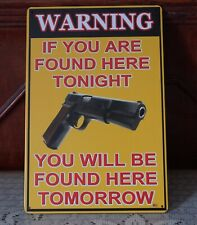Warning Gun Poster Vintage metal Tin signs Home Pub Bar wall decor
