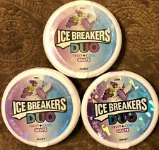 3 Packages Ice Breakers Duo Fruit + Cool Grape Sugar Free Mints 1.3 OZ 08/2021