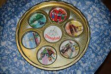 """Vintage 1960s Disneyland gold Metal Souvenir Drink Tray Metal Tin 11"""" Diameter"""
