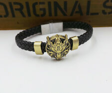 Final Fantasy Vii Cloudy Wolf Head Leather Bracelet Punk Wristband