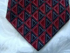 "Stafford Neck Tie 60"" Blacks Reds Silver Thread Triangle Pattern 100% Silk"