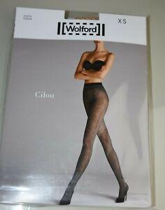 New WOLFORD Cilou Two Tone Net 20 Denier Tights Gobi Nude White XS S
