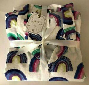 Pottery Barn Teen Size Large Rainbow Soft Flannel 2 Piece Pajama Set NWT