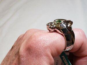 EFFY Men's Sterling Silver Panther Head Ring Tsavorite Garnet Eyes Size 10