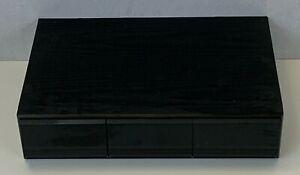 Wooden Storage 36 Cassette Tape Black Box Ash Veneer 3 Drawer Unit Vintage 80's