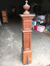 Stunning Victorian Quartersawn oak newel post Large finial 58� h x 10� square