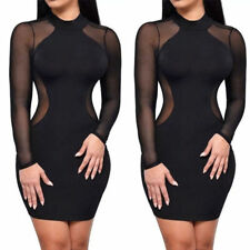 Sexy Women Black Bodycon Lace Evening Cocktail Party Long Sleeve Mini Dress 6-14