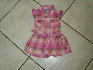 Super Sommer Kleid Gr.74 pink rosa Karo mit Glitzerfaden w.Neu