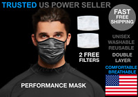 Performance Working Out Face Mask Breathable Washable Reusable PM2.5 Filter Camo
