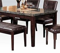 ACME Danville Walnut Dining Table with Black Marble Top