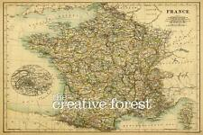 MAP OF FRANCE 1887 Antique Map Giclee CANVAS ART PRINT 32x24 in.