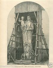 Vierge Colossale du Puy-en-Velay Auvergne France GRAVURE ANTIQUE OLD PRINT 1862