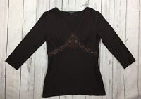 Women's Karen Kane Brown Beaded Lace Embellished 3/4 Sleeve Knit Top-Size Small