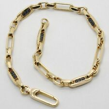 SOLID 18K YELLOW GOLD BRACELET SQUARE TUBE OVAL LINK, BLACK ZIRCONIA, ITALY MADE