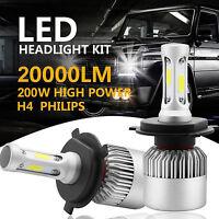 H4 9003 HB2 200W 20000LM High/Low Beam Head Fog Bulbs LED Headlight Kit