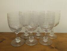 6 grosse Weingläser mit Ätzdekor um 1900-1920 Wein Glas