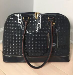 ARCADIA XL LARGE NAVY Patent Leather Satchel Tote weekender Travel Made In ITALY