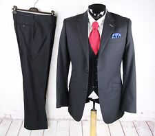 REQUISITE CUSTOM TAILOR 40R Mens Black 3PCS Texture Stripe Hacking Pant Suit 35W