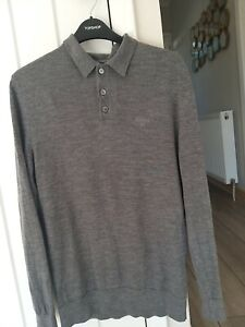 Male medium Barbour long sleeve polo shirt in grey