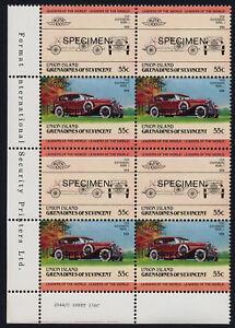 St Vincent Grenadines Union Is 147 BL Block Specimen o/p MNH Car, Dusenberg