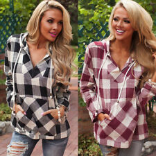 Women Checked Casual Long Sleeve Top Hooded Sweater Blouse Shirt Pullover 12-16