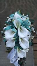 Turquoise  White Wedding Bouquet Set Roses  Custom Design 13 pc