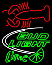Neon Signs Gift Bud Light Lime Lobster Bar Pub Restaurant Room Display 24X20