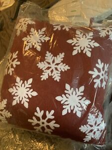 "Pottery Barn Snowflakes Falling Snow 16x16"" winter Christmas Pillow Red White"