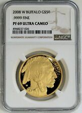 2008 W GOLD UNITED STATES $50 BUFFALO 1 OZ COIN NGC PROOF 69 ULTRA CAMEO