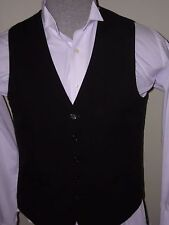 #476 Mens Sherlock Victorian Dickens Style 5 Button Black Vest Made In Usa Sm