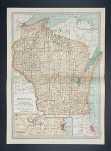 Original Encyclopaedia Britannica Map Wisconsin State United States from 1903