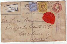 1907 London Ce4 registrado Env Perfin Ralli Brothers cuota por demora 4d pagado cachet