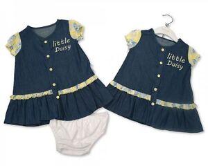 BABY GIRLS LOVELY 2 PCS DENIM DRESS- LITTLE DAISY  3-24 MONTH
