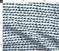 Surf Waves Navy Ocean Water Sea Nautical Fabric Printed by Spoonflower BTY