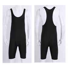 Männer Body Einteiler Unterhemd mit Bein Ringeranzug Bodysuit Fitness Schwarz XL