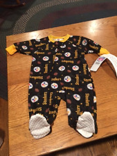 Pittsburgh Steelers NFL Full Zipper Footed Baby Sleeper, Size 6 Months - NWT